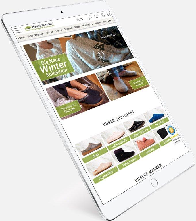 Hausschuh Shop - iPad links